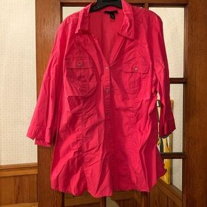 Hot Pink 3/4 Sleeve Button Down Lane Bryant 22/24
